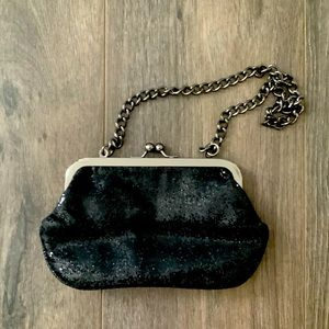 Express Black Sequined Clutch